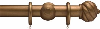 Advent 35mm Metallic Painted Wood Curtain Pole, Distressed Bronze, Spiral Ball