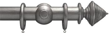 Advent 35mm Metallic Painted Wood Curtain Pole, Pewter, Reeded Cone