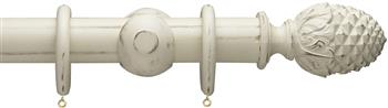 Advent 47mm Painted Wood Curtain Pole, Distressed Somerset White, Pineapple