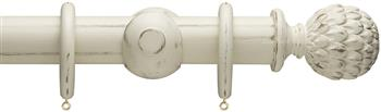 Advent 47mm Painted Wood Curtain Pole, Distressed Somerset White, Artichoke