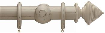 Advent 47mm Painted Wood Curtain Pole, Distressed Hemp, Reeded Cone