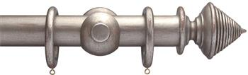 Advent 47mm Metallic Painted Wood Curtain Pole, Distressed Silver, Reeded Cone