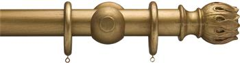 Advent 47mm Metallic Painted Wood Curtain Pole, Distressed Gold, Waterlily