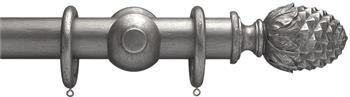 Advent 47mm Metallic Painted Wood Curtain Pole, Pewter, Pineapple