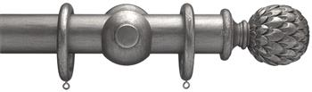 Advent 47mm Metallic Painted Wood Curtain Pole, Pewter, Artichoke