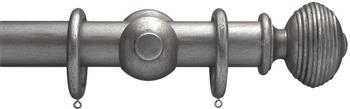 Advent 47mm Metallic Painted Wood Curtain Pole, Pewter, Reeded Ball