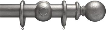 Advent 47mm Metallic Painted Wood Curtain Pole, Pewter, Plain Ball