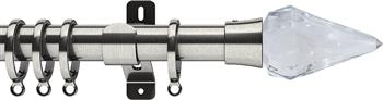Swish Design Studio 28mm Standard Curtain Pole, Satin Steel, Kwartz