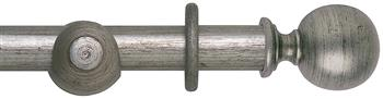 Rolls Museum 35mm, 45mm Antique Silver Curtain Pole, Ball Finial