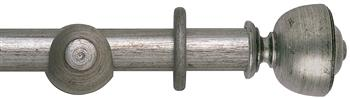 Rolls Museum 35mm, 45mm Antique Silver Curtain Pole, Asher Finial
