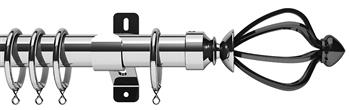 Swish Design Studio 35mm Classical Curtain Pole, Chrome, Graphite Consort