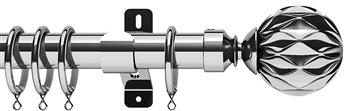 Swish Design Studio 35mm Classical Curtain Pole, Chrome, Cruzar