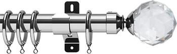 Swish Design Studio 35mm Classical Curtain Pole, Chrome, Prisma