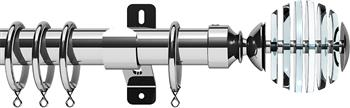 Swish Design Studio 35mm Classical Curtain Pole, Chrome, Rondelle