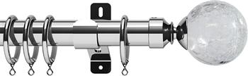 Swish Design Studio 35mm Classical Curtain Pole, Chrome, Gossamer