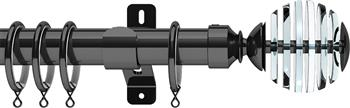Swish Design Studio 35mm Classical Curtain Pole, Graphite, Rondelle