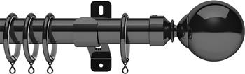 Swish Design Studio 35mm Classical Curtain Pole, Graphite, Mondiale