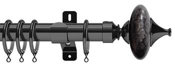 Swish Design Studio 35mm Classical Curtain Pole, Graphite, Black Cupola