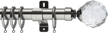 Swish Design Studio 35mm Classical Curtain Pole, Satin Steel, Prisma
