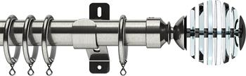 Swish Design Studio 35mm Classical Curtain Pole, Satin Steel, Rondelle