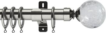 Swish Design Studio 35mm Classical Curtain Pole, Satin Steel, Gossamer