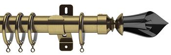 Swish Design Studio 35mm Classical Curtain Pole, Antique Brass, Graphite Blossom