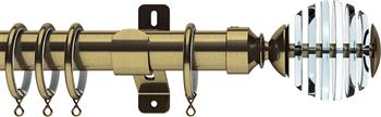 Swish Design Studio 35mm Classical Curtain Pole, Antique Brass, Rondelle