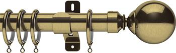 Swish Design Studio 35mm Classical Curtain Pole, Antique Brass, Mondiale