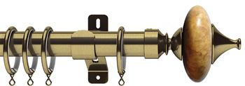 Swish Design Studio 35mm Classical Curtain Pole, Antique Brass, Sand Cupola
