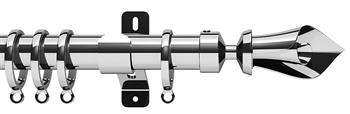 Swish Design Studio 35mm Contemporary Curtain Pole, Chrome, Blossom