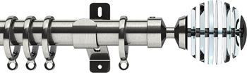 Swish Design Studio 35mm Contemporary Curtain Pole, Satin Steel, Graphite Rondelle