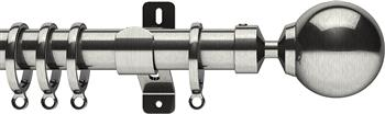 Swish Design Studio 35mm Contemporary Curtain Pole, Satin Steel, Mondiale