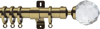 Swish Design Studio 35mm Contemporary Curtain Pole, Antique Brass, Prisma