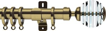 Swish Design Studio 35mm Contemporary Curtain Pole, Antique Brass, Rondelle