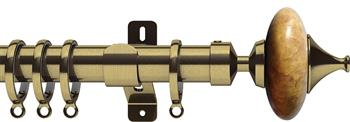 Swish Design Studio 35mm Contemporary Curtain Pole, Antique Brass, Sand Cupola