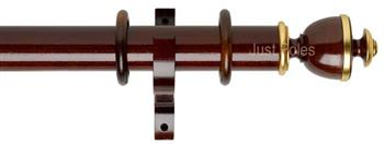 Byron Deluxe 55mm Curtain Pole Apaulia, Dark Oak/Gold