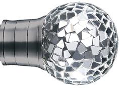 Galleria 50mm Finial Only, Brushed Silver, Mozaic Mirror Ball