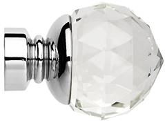 Neo Premium 28mm Clear Faceted Ball Finial Only, Chrome
