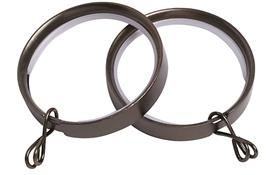 Speedy 28mm Flat Lined Curtain Pole Rings, Polished Graphite