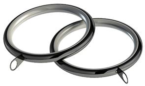 Speedy Standard Lined 28mm Curtain Pole Rings, Polished Graphite