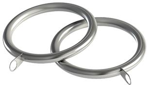 Speedy Standard Lined 28mm Curtain Pole Rings, Satin Silver