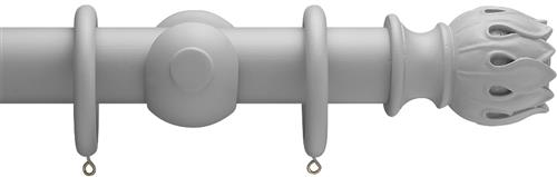Advent 47mm Shades of Grey Wood Curtain Pole, Steel Grey, Waterlily