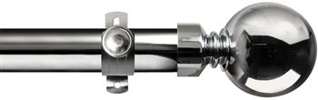 Renaissance Orbit 28mm Metal Eyelet Curtain Pole Polished Silver, Ball