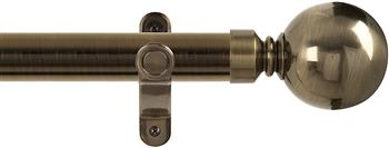 Renaissance Spectrum 35mm Eyelet Curtain Pole Antique Brass, Plain Ball