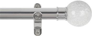 Renaissance Spectrum 35mm Eyelet Curtain Pole Polished Silver, Crackled Glass Ball