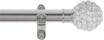 Renaissance Spectrum 35mm Eyelet Curtain Pole Polished Silver, Clear Crystal Beads