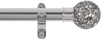 Renaissance Spectrum 35mm Eyelet Curtain Pole Polished Silver, Mirror Mosaic Ball