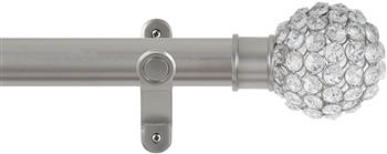 Renaissance Spectrum 35mm Eyelet Curtain Pole Titanium, Clear Crystal Beads