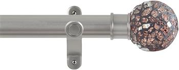 Renaissance Spectrum 35mm Eyelet Curtain Pole Titanium, Rose Mosaic Ball