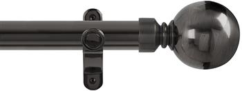 Renaissance Spectrum 35mm Eyelet Curtain Pole Black Nickel, Plain Ball